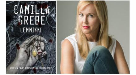 Lemmikki-romaanin kansikuva ja kirjailija Camilla Grebe