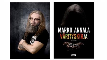 Kirjailija Marko Annala ja Värityskirja-romaanin kansikuva. Kuvat: Like, Annalan kuva: Toni Härkönen