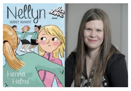 Nellyn uudet kuviot - kirjan kansikuva ja Henna Helmi - kirjailijan kuva