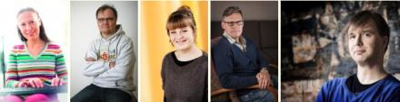 Kirsti Kuronen, Jukka-Pekka Palviainen, Veera Salmi, Kalle Veirto ja Harri Veistinen - kirjailijoiden kuvat
