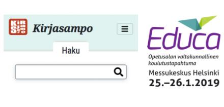 Kirjasammon etusivu ja Educa 2019 -logo