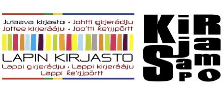 Jutaava kirjasto -logo ja Kirjasampo-logo
