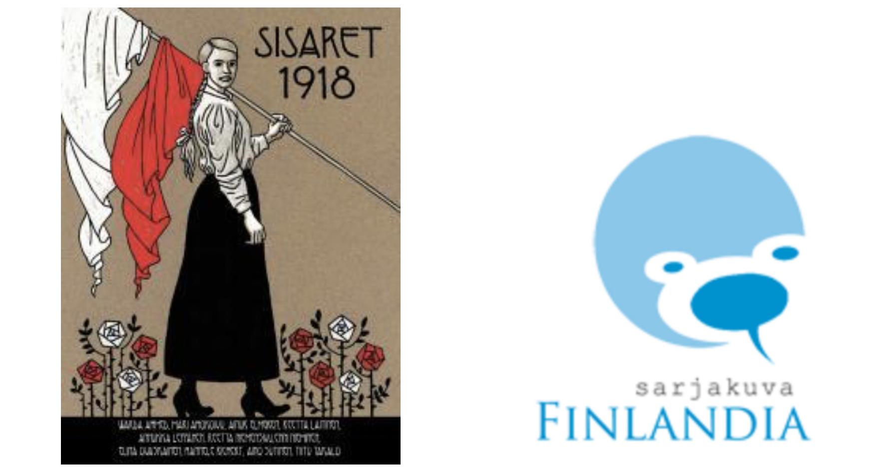Sisaret 1918 -kansikuva ja Sarjakuva-Finlandian logo