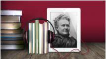 Minna Canthin kuva ipadissa ja vieressä kirjanippu, jolla on kuulokkeet ympärillään