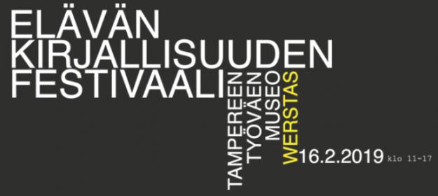 Elävän kirjallisuuden festivaali -banneri