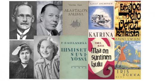 Kirjailijakuvien ja kansikuvien kollaasi Suomi 100 -artikkeliin